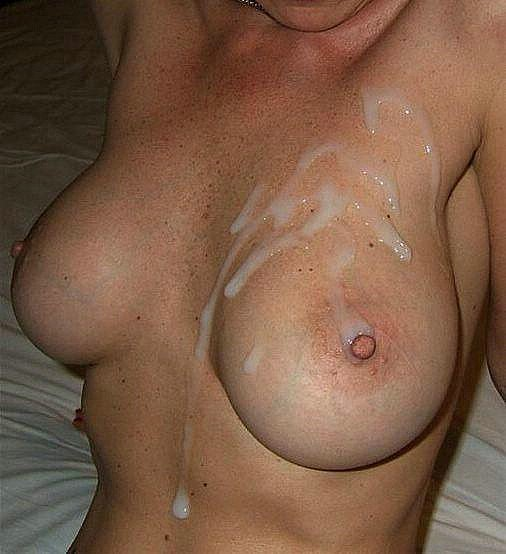 Big cum covered tits